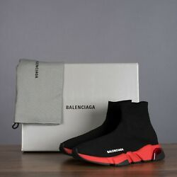 Balenciaga 850 Speed Sock Clear Sole Sneakers In Black And Red
