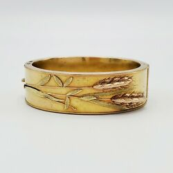 Antique Multicolor Sheaf Of Wheat 14k Gold Cuff Bracelet Child's Or Small Wrist