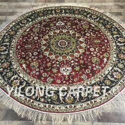 Yilong 6and039x6and039 Handmade Silk Area Rug Round Dining Room Deep Red Carpet Zw122c