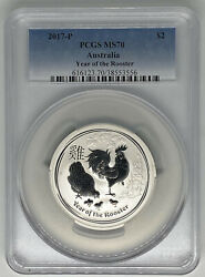 2017 Australia 10 Lunar Series Ii Year Of Rooster 10 Oz Pcgs Ms70 Population 1