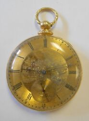 Antique 18k Yellow Gold Mj Tobias Liverpool Etched Man And Horse Pocket Watch