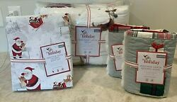 Pottery Barn Kids Heritage Santa Queen Quilt Shams Sheets Christmas Jolly Merry