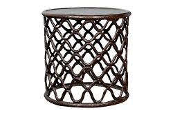 Bronze Fretwork Side Table In The Style Of An African Cameroon Stool
