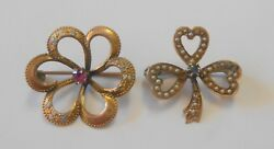 Two Victorian Style 10k Gold Brooch Pins Clover Leaf Seed Pearls Enameled Flower