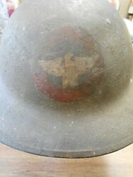 Ww1 Us Army Air Service Aef 276th Aero Squadron Painted Brodie Helmet And Liner