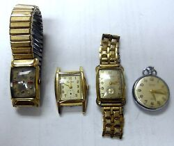 Antique Wrist Watch Collection. 3 Watches And 1 Pocket Non-working For Parts.