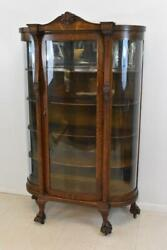 Antique Oak Curved Glass China Curio Cabinet Claw Feet