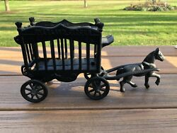 Vintage Overland Cast Iron Circus Cage Wagon Horse Toy Antique