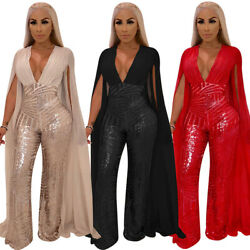 Plus Size Womens Cloak Sequined Clubwear Party Casual Jumpsuit Romper Bodycon Ca