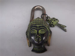 Collectibles Decoration Superb Chinese Tibet Features Copper Lock Guanyin Head