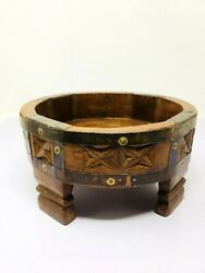 Antique Wooden Hand Carved Indian Flour Mill Circle Big Vegetable Fruits Bowl