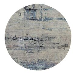 8and039x8and039 Silver Blue Wool And Silk Modern Abstract Design Oriental Round Rug G58881