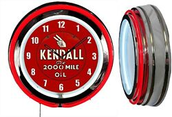 Kendall The 2000 Mile Motor Oil 19 Double Neon Clock Red Neon Man Cave Garage
