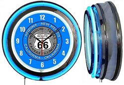 Route 66 With State Names 19 Double Neon Clock Blue Man Cave Garage Blue Sign