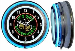 It's 5 O' Clock Somewhere Beer Sign Neon Clock Blue Outside Neon Man Cave Bar
