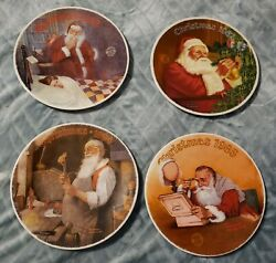 Vintage Knowles Lot Of 4 Christmas Plates Santa 84 85 86 87 Norman Rockwell Rare