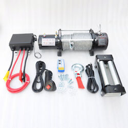 Vi Sto 12000lb Electric Recovery Winch Dc12v Steel Cable Rope Towing