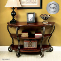 Antique Console Sofa Table Vintage Display Wood Top Brown Hall Carved Iron Style