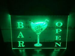 Bar Open Beer Cocktails Pub Led Neon Light Sign Gift Decor For Club Size 8x12