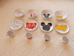Disney Mickey Mouse Body Parts , Set Of 4 Cups, Plates And Bowls