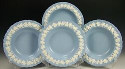 4 Wedgwood Embossed Queensware Cream On Lavender Shell Edge 8.25 Soup Bowls