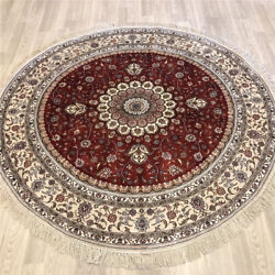 Yilong 6and039x6and039 Round Handmade Silk Carpet Vintage Oriental Red Area Rug 246ab