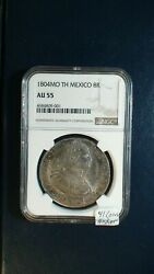 1804 Mo Th Mexico Eight Reales Ngc Au55 8r Silver Coin Buy It Now