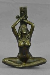 Erotic Bronze Figurine Sculpture Of Girl Bound Chained To Post 6 X 4