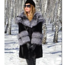 Women Mink Fur Coat Jacket With Silver Fox Fur Collar And Cuff Hooded Outwear