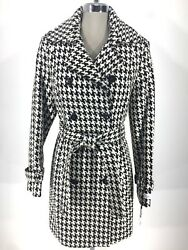 Calvin Klein Black White Hounds Tooth Double Breasted New Coat Women Size 6 8