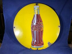 H5-20 Coca-cola 15.75andrdquo Vintage Porcelain Sign -extremely Rare Yellow - Fantastic