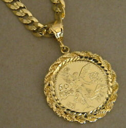 Menand039s Large Yellow Gold Plated Centenario Coin Charm And 30in Long Curb Link Set