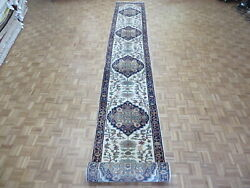 3and0392 X 23and0398 Runner Hand Knotted Antiqued Geometric Serapi Oriental Rug G9664