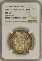 1913a Germany 3 Mark Prussia Napoleon Defeat Ms68 Ngc 943603-48