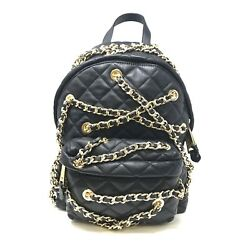 Moschino Women's Metallic Quilted Leather Backpack With Gold-tone Chains