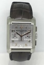 Baume And Mercier Hampton Xl Chronograph Silver Dial Automatic Steel Watch 65698