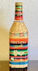 Extremely Rare Vintage 1965 PÉpe Lopez Tequila Bottle Straw Cover Mexico Import