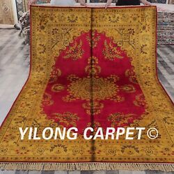 Yilong 6and039x9and039 Handmade Silk Rugs Gold Antique Traditional Indoor Carpet G76c
