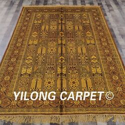 Yilong 6and039x9and039 Four Seasons Handknotted Silk Carpet Gold Antique Floor Rug G13c