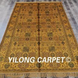 Yilong 6and039x9and039 Antique Handknotted Silk Carpet Gold Four Seasons Oriental Rug G14c