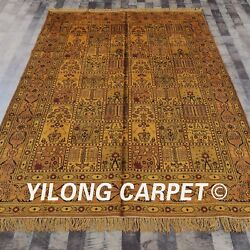 Yilong 6and039x9and039 Handmade Silk Carpet Four Seasons Washed Gold Antique Area Rug G15c