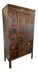 19th Century Two-part Chinese Elmwood Kitchen Cabinet Pantry Or Cupboardandnbsp
