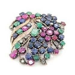 Estate Natural Sapphire Ruby And Diamond 10k Rose Gold Brooch Pin 60001275