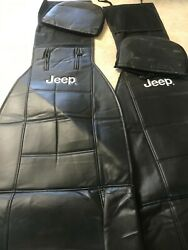 Jeep Elite Mopar Black Car Truck Synthetic Leather Sideless Seat Covers Set