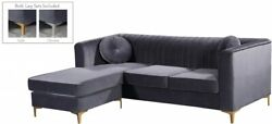 2pc Living Room Furniture Grey Color Velvet Sectional Sofa W/ Reversible Chaise