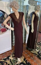 Tadashi Collection Sz 6 Brown Silk Gown Evening Dress Full Length Vtg 40and039s Style