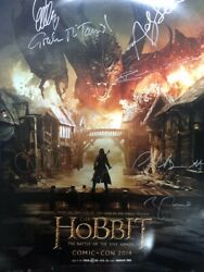 Sdcc The Hobbit The Battle Of The Five Armies Cast Signed 2014 Poster Rare