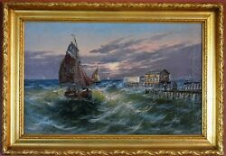 Seascape, Antique Oil Painting By Henri Fabre -french Listed Artist 1880-1950