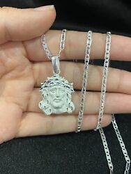 925 Sterling Silver Jesus Christ God Face Pendant And Valentino Chain 18 20 22 24