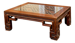 Large Rectangular Chinese Hand-carved Elmwood Cocktail Low Table